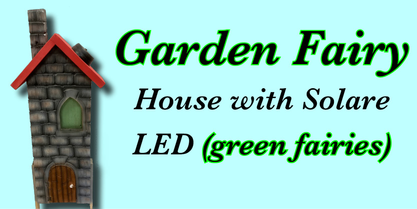 Garden Fairy House with door that opens and solar LED , green fairies