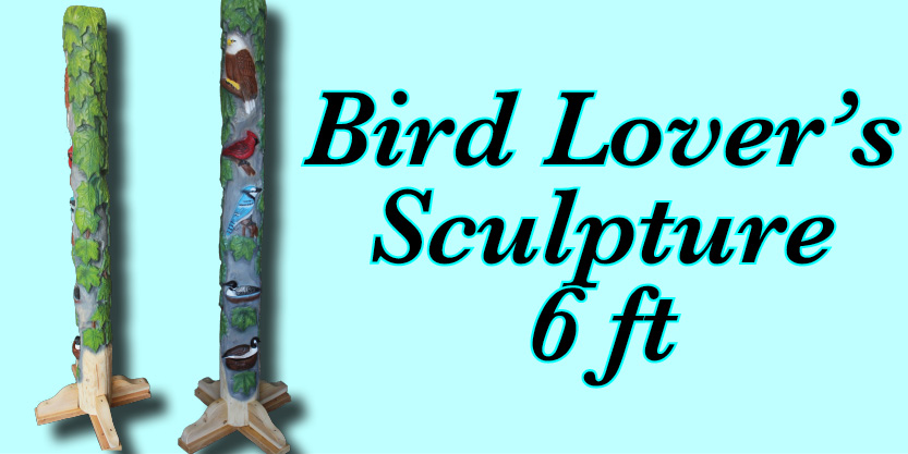 Tree Spirit and Friend bird lovers carving sculpture garden art