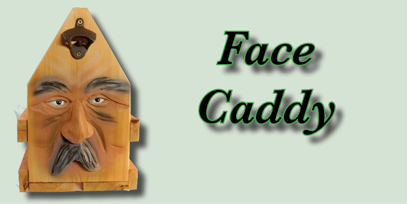 Face Man Caddy, Craft Beer, Beer caddies, hand-carved and hand-painted, garden art, deck, art