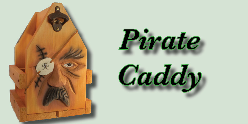 Pirate Bottle caddy, Craft Beer, Beer caddies, hand-carved and hand-painted, garden art, deck, art